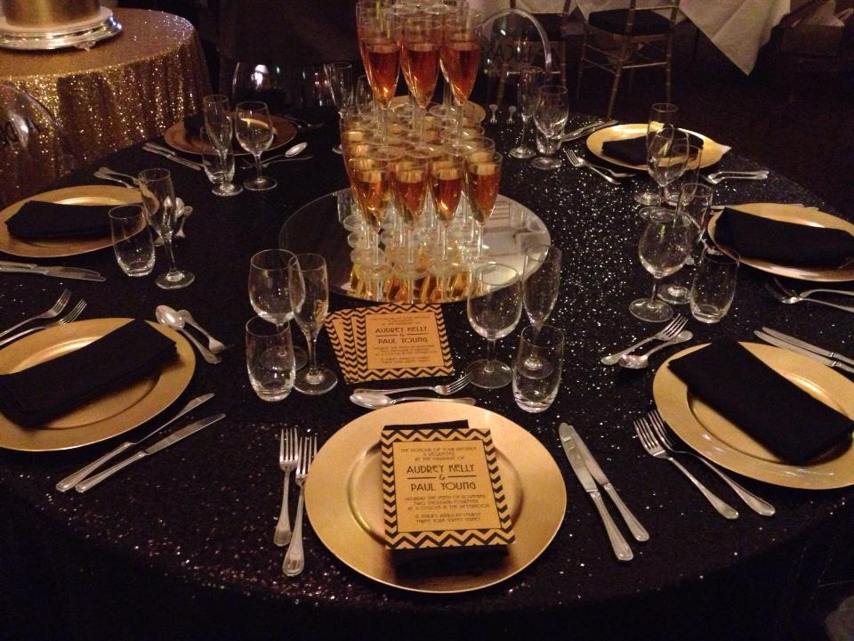 ... Black Sequin Table Cloth With Gold Plastic Charger Plates