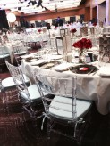 Clear Tiffany chairs with blue cushion 2