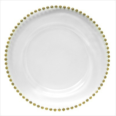 Glass charger plate with gold beading
