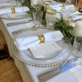 Gold Beaded Charger Plates and napkin ring