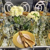 Gold Braided Charger Plates on Lux Mirror Table
