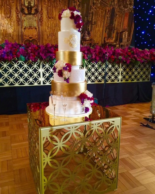 Gold Laser Cut Cake Table 80cm