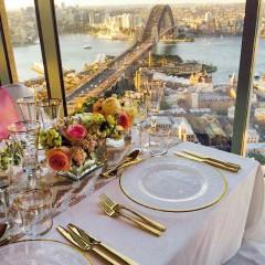 Gold rim glassware and cutlery