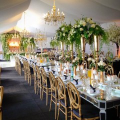 Lux Mirror Tables with Gold Channel Chairs