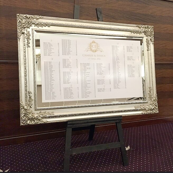 Silver Mirror with Seating Plan