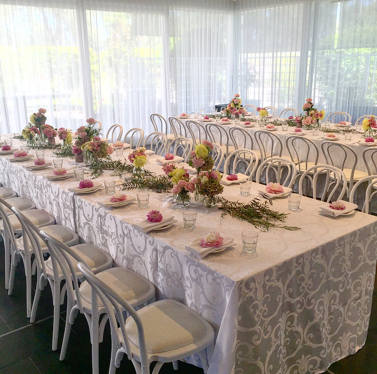 White Damask Table Cloths Harbourside Decorators