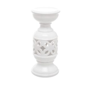 White ceramic candle holder 11cm x 24cm