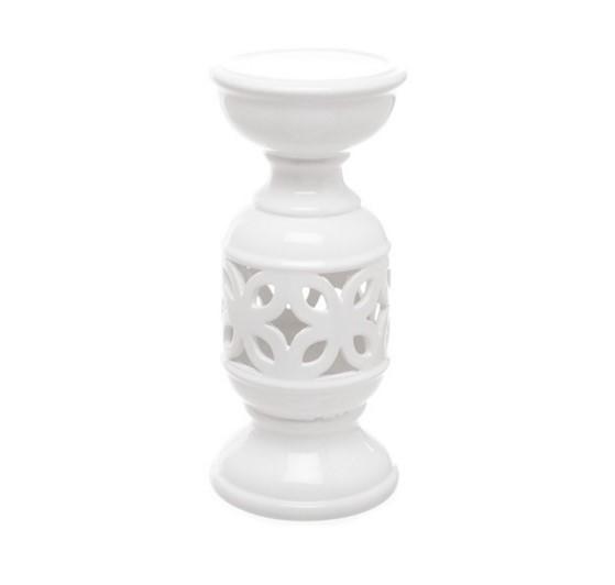 White ceramic candle holder 11cm x 24cm