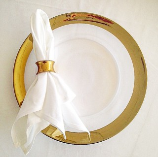 Glass charger plate hire with gold trim