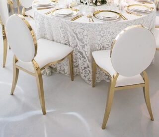 Round Back chairs with gold trim