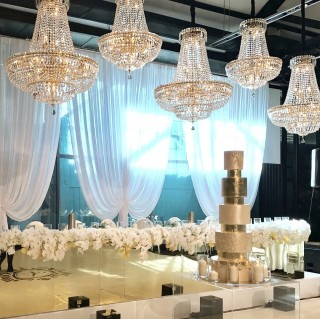 Gold mirror bridal table