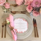Pearl charger plate with rose gold cutlery