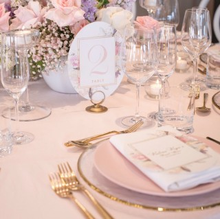 Soft pink table cloths