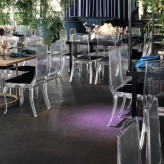 Clear King Chairs with black velvet pad
