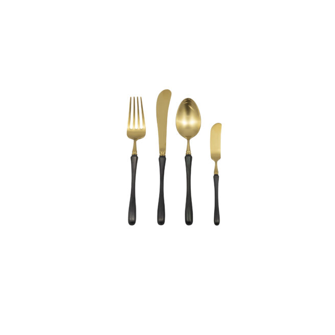 Gold + Black - Fork, Knife, Spoon + Butter Knife