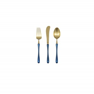 Gold + Blue - Fork, Knife, Spoon