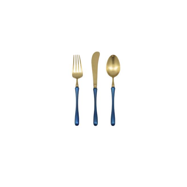 Gold + Blue - Fork, Knife, Spoon