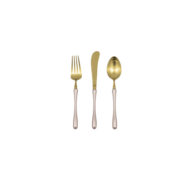 Gold + Pink - Fork, Knife, Spoon