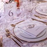 Valentina lace, matte gold cutlery, ceramic gold rim plate