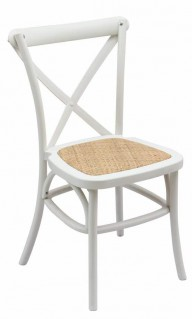 White Cross Back Chair with Rattan seat pad