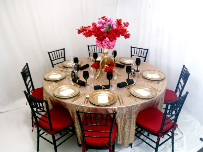 Black red and gold styling
