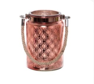 Copper Glass Lantern with rope 10cm x 15cm
