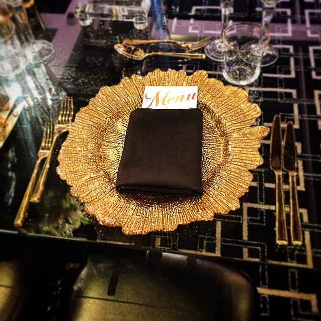 Gold Flare Plate and gold cutlery