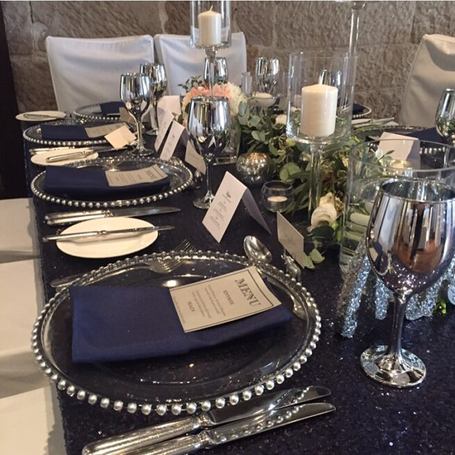 Navy Blue Sequin Table Cloth with Silver beaded Charger