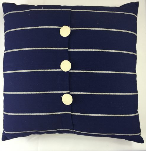 Navy Blue and White Stripe Cushion