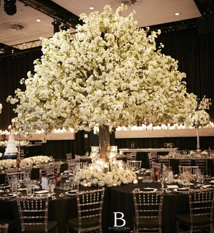 White Cherry Blossom Tree with Cluster Tables