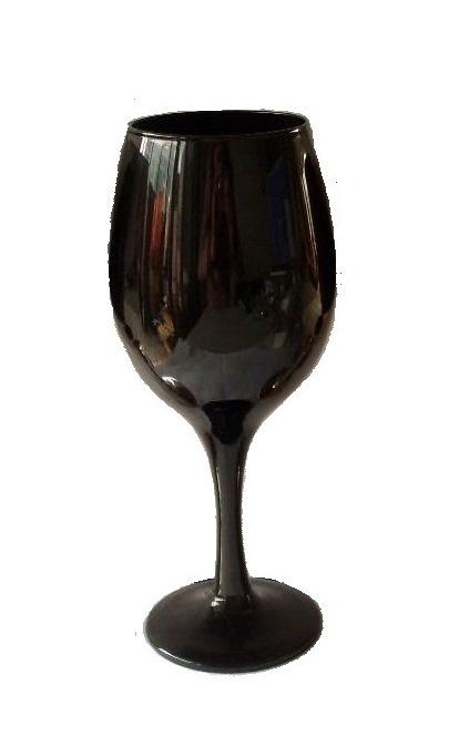 black goblet glasses