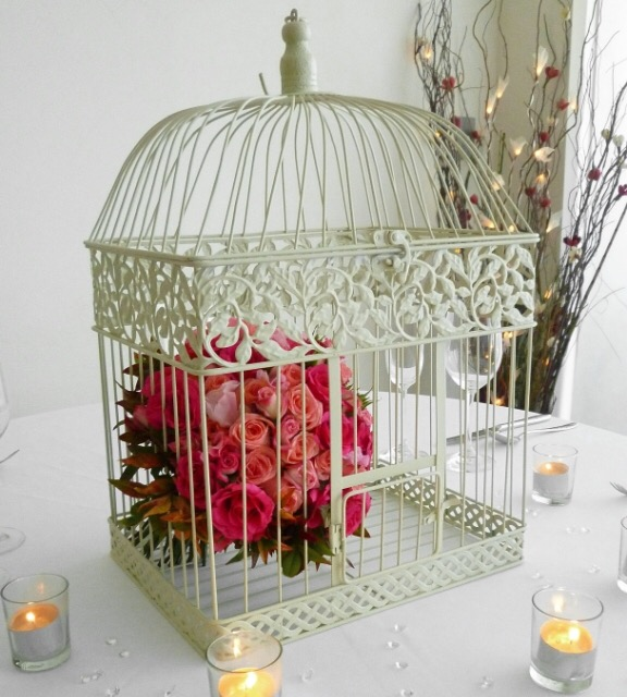 Antique White Bird Cage Wishing Well