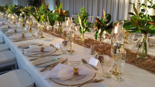 Gold sequin runners and charger plates