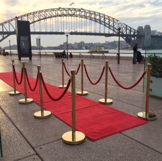 Red Carpet with Gold Bollards