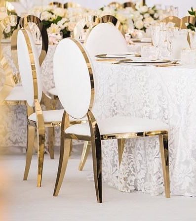 Round Back gold trim chairs