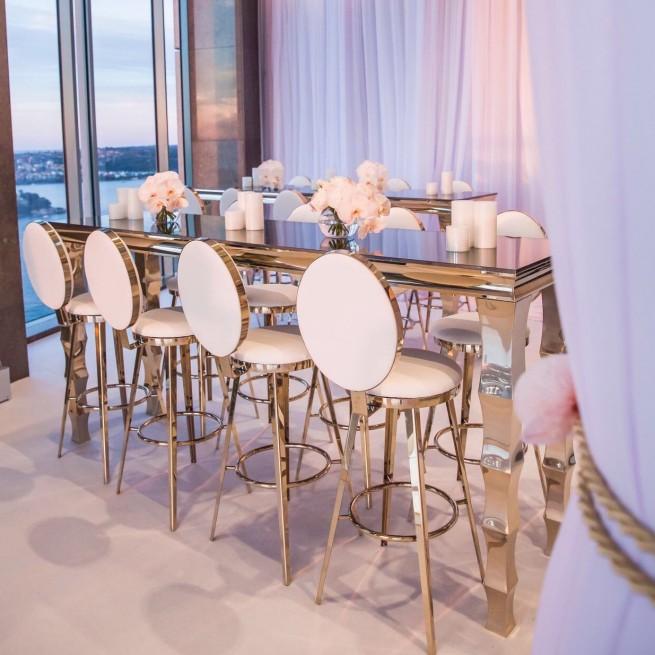 Horizon Bar Table and Round Back bar stool