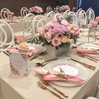 Natural Linen with rose gold cutlery