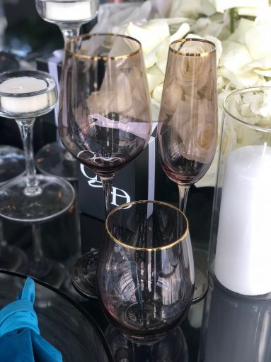 Charcoal Glassware with gold rim